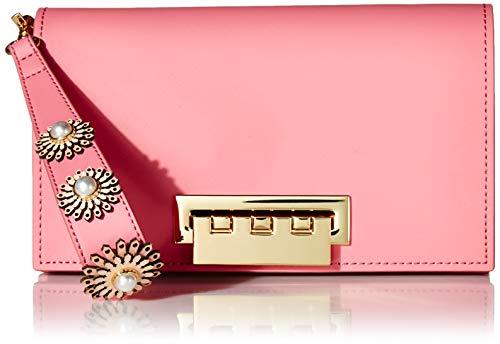 (ZAC Zac Posen Earthette Clutch-Colorblock w/Floral Applique-Pink, Bubble Gum )