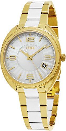 Fendi Momento Women's 34mm White Face Yellow Gold Stainless Steel Ceramic Swiss Fendi Watch Women F218434004 by Fendi