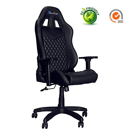 Ergonomic Gaming Chair, Taurus Computer Gaming Chair with Adjustable Armrest and Backrest PU Leather Large Size Racing Chair with Headrest and Lumbar Support Best Gaming Chair (Black) Taurus Gaming Chair