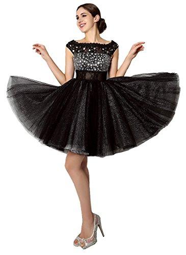 Knie Ausschnitt Cap Linie O Hülsen A über Schwarz Cocktailkleider Beauty Emily nHSYZ6Y