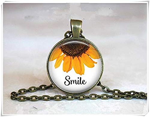 - Smile with Sunflower Dome Glass Ornaments, Gifts for her, Pendant