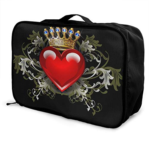 Travel Duffle Bag In Trolley Handle Lightweight Weekender Bag Nylon Luggage Duffel Bag, Sports, Gym, Holiday Overnight Carry On Bag - Hand Bag (Crowned Love Heart Black)