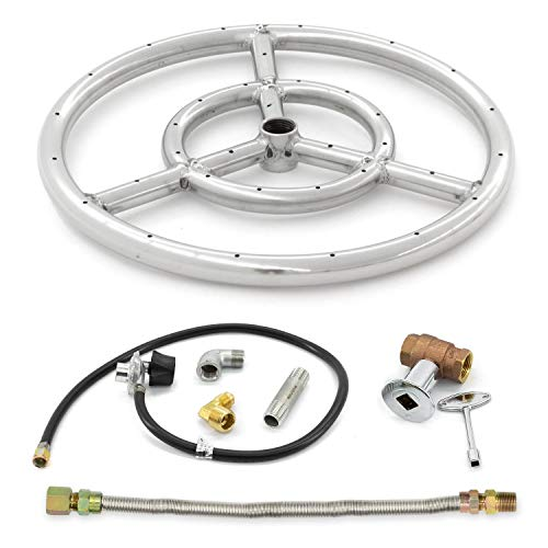 Lakeview Outdoor Designs Stainless Steel 12-Inch Three-Spoke Round Propane Double-Ring Burner W/Connection Kit