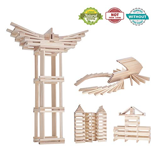 Wooden Blocks For Kids Set - Building Toys For 3,4,5,6 Year Old Boys,Girls. 297 Pure Natural Wood Planks. That Excite Learning Curiosity Stem,Motor Skill, Creativity. Invest In Your Toddlers Today.