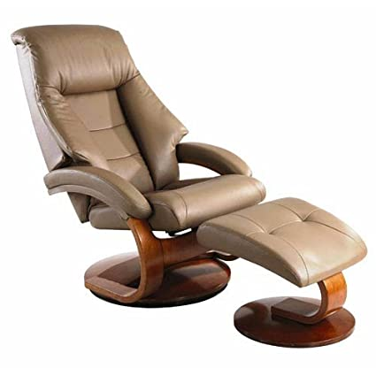 Mac Motion Oslo Leather Swivel Recliner With Ottoman In Sand Finish