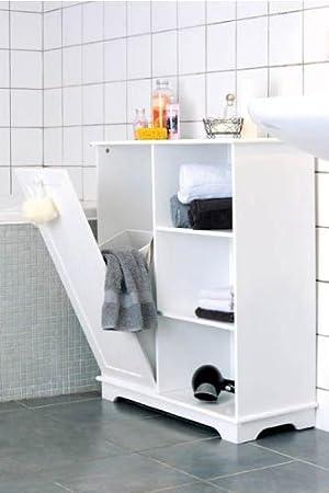 MQ Badregal Badezimmerschrank Badschrank Wäschekorb MDF Holz Regal ...