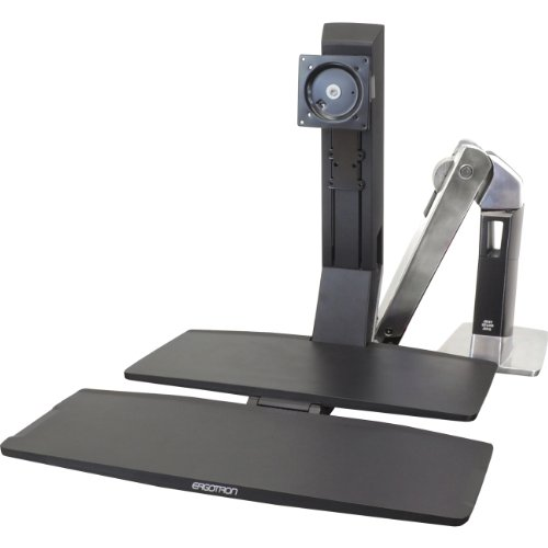 Ergotron 24-314-026 WorkFit-A Single HD with Worksurface+ - Stand ( tray, articulating arm, desk clamp mount, pivot ) for LCD display / keyboard / mouse - black, polished aluminum - screen size: up to 30 inch - mounting interface: 100 x 100 mm, 75 x 75 mm by Ergotron