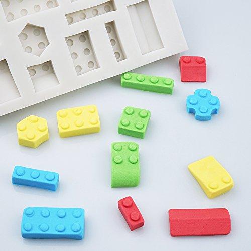 Molde de silicona con forma de bloques de construcción de LEGO de color blanco para decoración de pasteles, fondant y cupcakes: Amazon.es: Bricolaje y ...