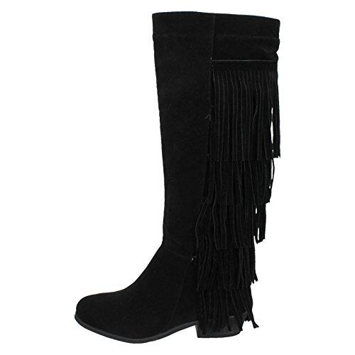 Fringed Zip Ladies Boot Up Black EOpPxqvn