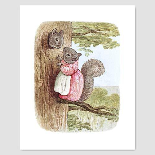 "(Beatrix Potter Print (Peter Rabbit Wall Decor, Baby Nursery Art) ""Woodland"" – Unframed)"