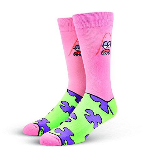 Cool Socks Men's Knit Crew Socks (Shoe Size 6-12, Pink Patrick Star Print) (Socks Star Crew Rock)