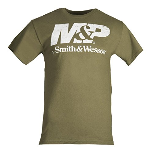 M&P by Smith & Wesson Men's Distressed Logo T-Shirt (Military Green - M)
