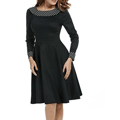 Falda Vestido De SeñOra Punto De La Onda Retro Mangas Largas Delgada Pajarita Falda Puff Falda Larga De La Boda De AlgodóN Black