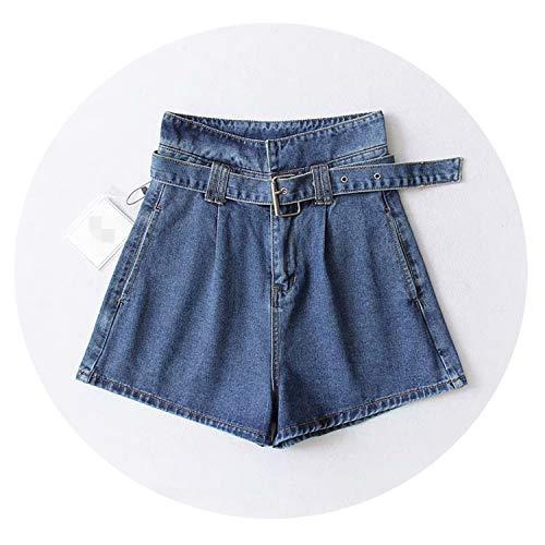 (2019 Summer Women High Waist Jeans Shorts Streetwear Vintage Shorts Sexy Female Denim Shorts,L)