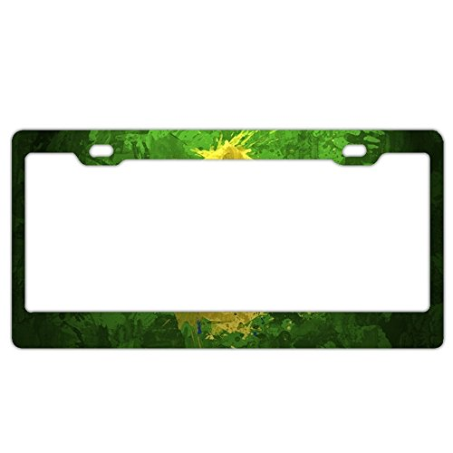 (GREDBH Brazil Flag customized License Plate Frame Tag Holder 2 Holes US Plate Covers)
