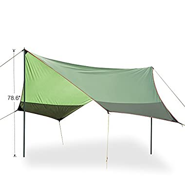 FiveJoy Portable Canopy Tent Rainfly Sun Shelters - Shade for Sun and UV Protection -Ripstop Nylon Tarp for Rain Cover - Must-Have for Camping, Hammock, Picnic, BBQ - Great for All Outdoor Activities
