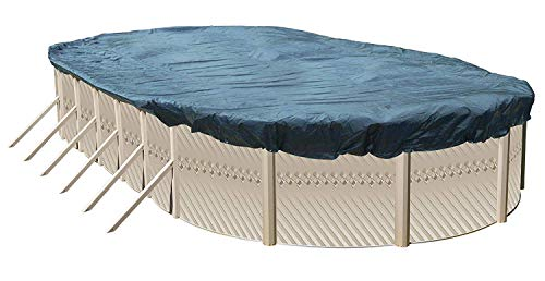 Winter Cover for 18-Foot-by-33-Foot Oval Above Ground Swimming Pools | Total Cover Size 21-Foot-by-36-Foot | Blue/Black Reversible | 3-Foot Additional Material for Secure Installation (Covers Above Oval Pool Ground)