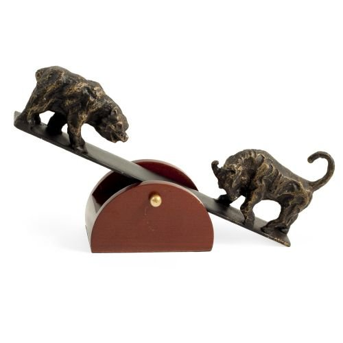 See-Saw Stock Market Bull and Bear Sculpture - Figurine Bears Seesaw