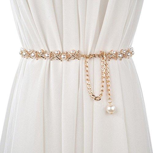 CHUANGLI Ladies Fashion Pearl Decorative Metal Waist Chain Waist Belt for Dress