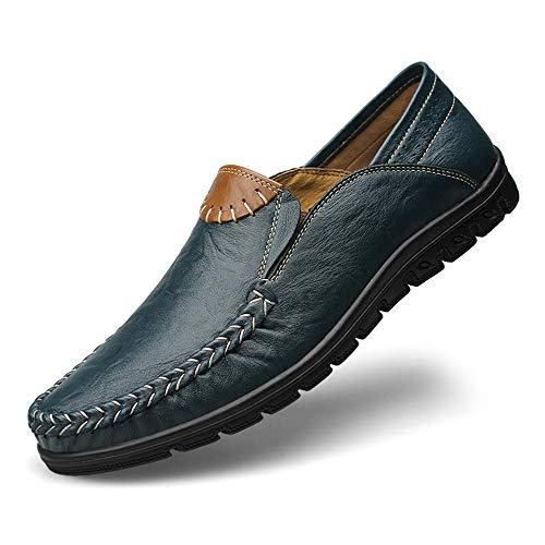 Qiusa Suave EU Genuino Antideslizantes Negocios Zapatos Azul Hombres Respirables Lope Mocasines Color de de 40 para tamaño Cuero Marrón gqg7r