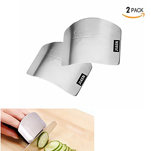 JIAEN 304 Stainless Steel Finger Guard Finger Protector Tool for Kitchen Knives While Cutting - 2 Pack (Finger Guard)