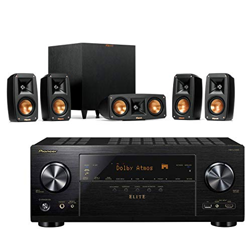 Klipsch Reference Theater Pack 5.1 Surround Sound System Bundle with Pioneer VSX-LX303 9.2-Channel 4k Ultra HD Network A/V Receiver - - System Sound Complete