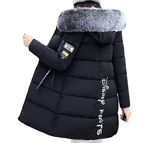Down Zip Long Mid Patterned Velvet Hooded Jackets Energy Women's Black Thickened RnF8twpPq