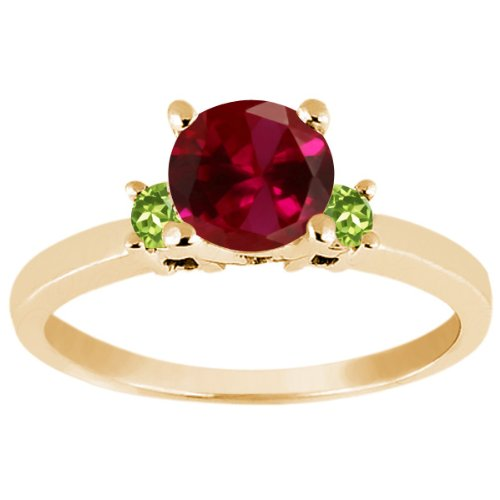 Peridot Kids Ring (1.14 Ct Round Red Created Ruby Green Peridot 925 Yellow Gold Plated Silver Ring)