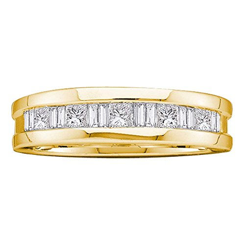 Mens Round Diamond Wedding Band Solid 14k Yellow Gold Ring Baguette Channel Set Polished Fancy 1.00 ctw