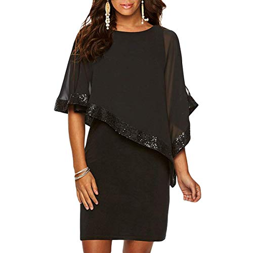 Alaster Queen Sequined Overlay Party Dress Chiffon Poncho Slit Sleeve Pencil Cocktail Mini Dress ()