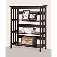 Roundhill Furniture Wooden 3 Shelves Bookcase, Espresso Finish