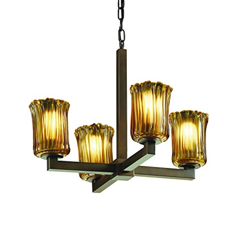 - Justice Design Group Veneto Luce 4-Light Chandelier - Dark Bronze Finish with Amber Venetian Glass Shade