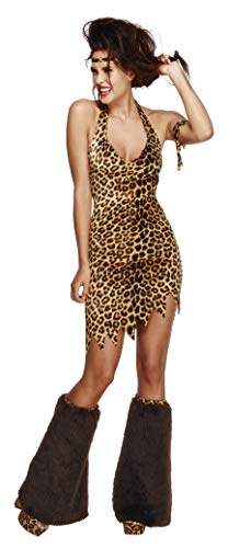 Smiffys Women's Fever Cave Woman Costume, Dress, Headband, Arm Band and Leg Covers, Cave Woman, Fever, Size 10-12, 43484 -