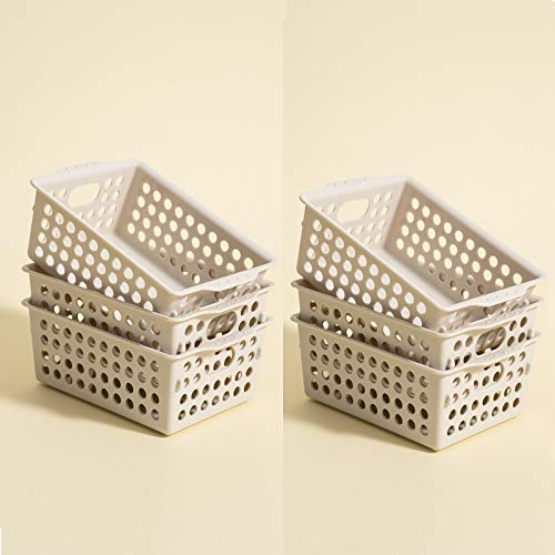 Plastic Storage Basket Organizer Bins 6 Pack Small Storage Trays Modular Baskets Holders for Classroom Drawers Shelves Desktop Closet Playroom Office and More
