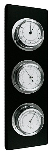 Fischer Instruments 1535-06 Chrome and Black Wood Base Weather Station with Barometer, Hygrometer, Thermometer and Quartz Clock
