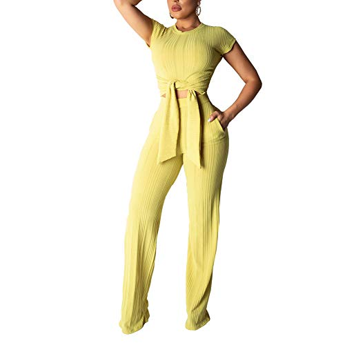 ECHOINE Women's Sexy 2 Piece Outfits - Slim Crop Top Shirts Wide Leg Pants Set Bodycon Jumpsuit Yellow L