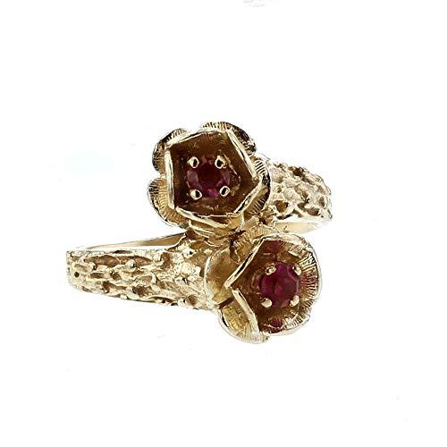 (DiamondJewelryNY Flower Ring, 14kt Yellow Gold & Pink Sapphire Flower Ring)