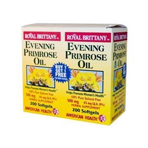 Evening Primrose Oil 500mg Royal Brittany Twin Pack American Health Products 200+200 Softgel