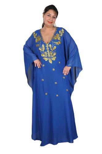 Abaya fijo vestido de gasa transparente, talla única: M hasta XXXL, en diferentes colores Azul/Dorado