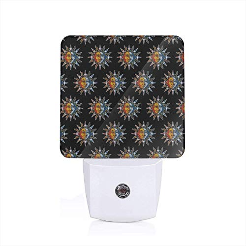 Celestial Mosaic Sun and Moon Plug-in LED Night Light Dusk-to-Dawn Light Sensing, Bedroom, Bathroom, Kitchen, Hallway, Stairs, Energy Efficient