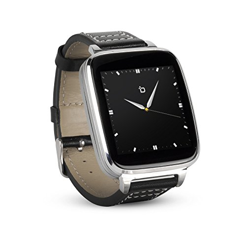 Bit Smart Watch for AppleAndroid phones. 8GB of Music Storage. Silver with leather strap.