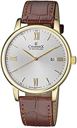 Charmex Luxury Men's 'Amalfi' Wrist Watch Stainless Steel Case and Brown Leather Band — 42mm Analog Watch — Swiss Quartz Movement (Model: CX-3026)
