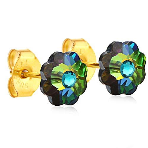 (24K Gold Coated Stud Earrings hypoallergenic for sensitive ears 14karat gold coated gifts by clecceli)