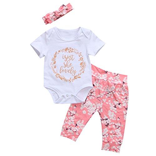Isnt She Lovely 0-18M Infant Newborn Baby Girl Short Sleeve Cotton Bodysuit Tops Floral Pant Headband (0-3 Months, Style 2)