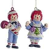 Kurt Adler Raggedy Ann And Andy Blow Mold Ornament Set OF 3 Pieces
