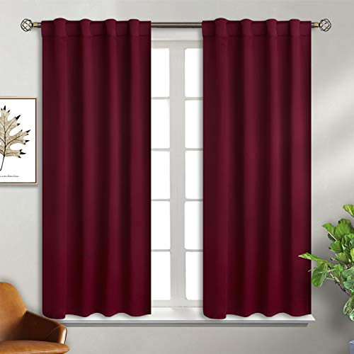 BGment Rod Pocket and Back Tab Blackout Curtains for Bedroom - Thermal Insulated Room Darkening Curtains for Living Room, 2 Window Curtain Panels (38 x 54 Inch, Burgundy Red) ()