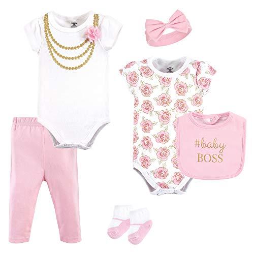 Little Treasure Unisex Baby Clothing Set, Gold Roses 6-Piece Set, 9-12 Months (12M) ()