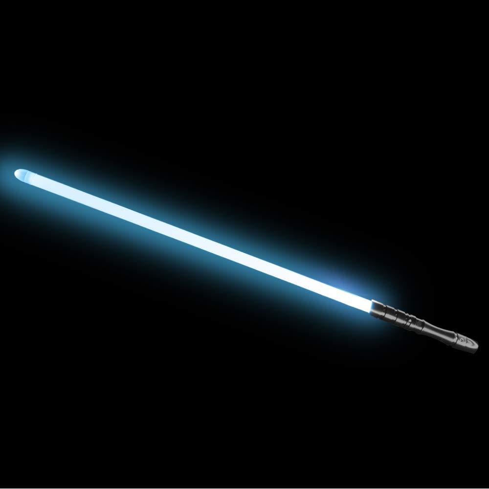 YDD LED Light Saber, Force FX Lightsaber with Sound and Light, Rechargeable Light Up Sword, Metal Hilt, Star Wars Toy for Man Kids(Black Hilt Iceblue Blade)