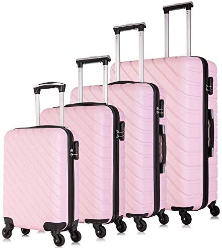 Apelila ABS Hardshell Luggages Sets With Spinner Wheels Travel Luggage Carry On Suitcase Light Pink, 4 PCS