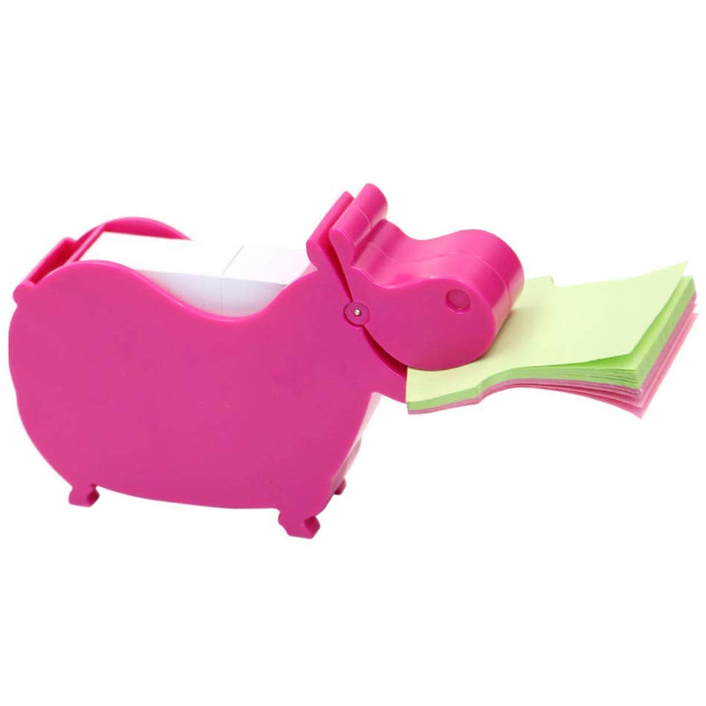 MSFGJZM Animal Note Clip Multi-functional Plastic Memo Holder Note Stand Organizer, With 200 Sheets Random Color 2.6x2.74In Memo Included (Rose red hippo)